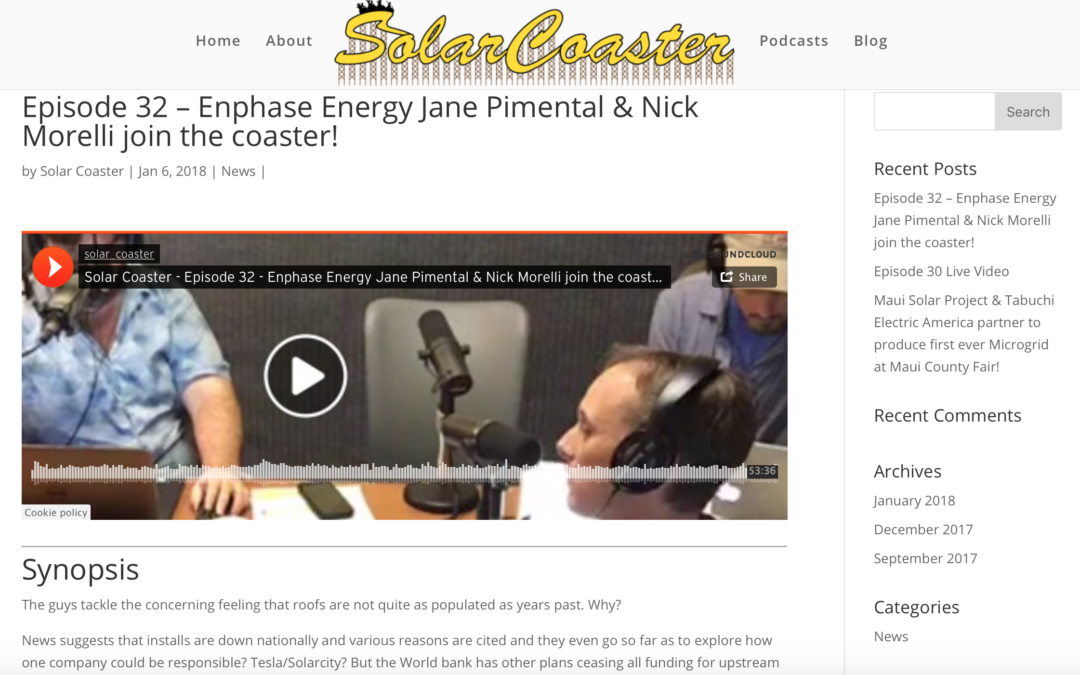 Episode 32 – Enphase Energy Jane Pimental & Nick Morelli join the coaster!